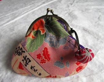 12cm Antique Silk Gamaguchi Purse  - made with antique silk Japanese kimono fabric