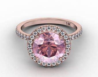 Morganite Diamond Engagement Ring  2.35ct 9mm Round Morganite .40ct Diamonds 18k Rose Gold Halo Wedding Anniversary Pristine Custom Rings