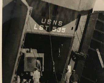 WWII original photos U.S Navy photo unloading equipment w/ truck
