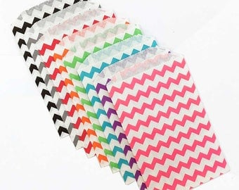 Chevron Party Favor Bags, Treat Bags, Gift Bags, Paper Bags, Party Bags, Grey Chevron, Paper Gift Bag, Small Wedding Favor Bags, Red Chevron