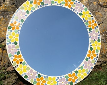 70's Flower Design Mosaic Mirror