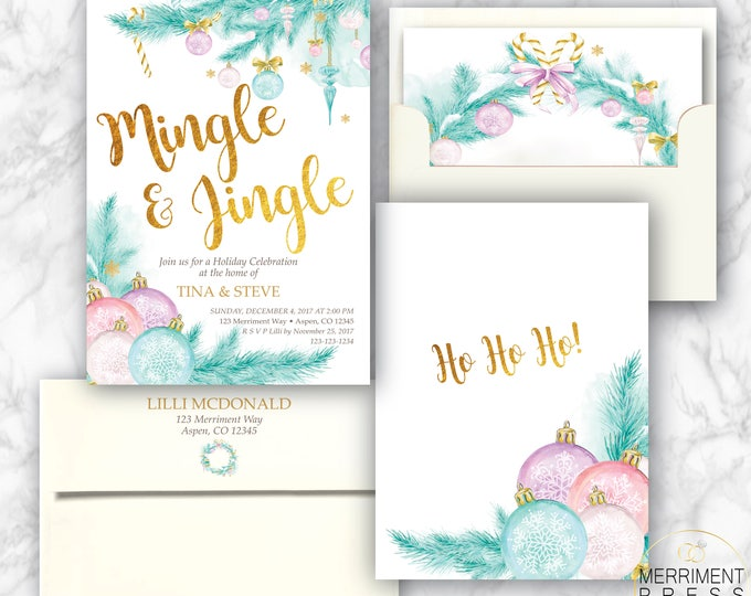 Jingle and Mingle Invitation // Holiday Party // Pine // Ornaments // Chirstmas Tree // Winter // Gold // Pastel // ASPEN COLLECTION