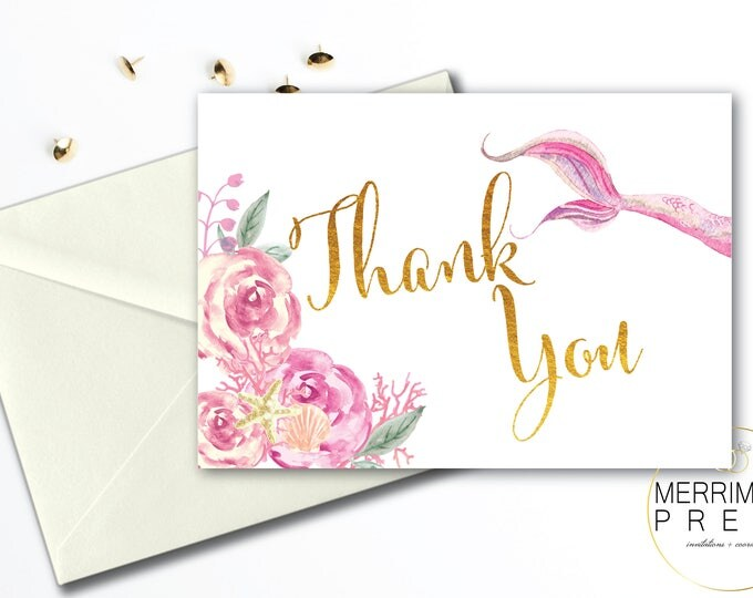 Mermaid Thank You Card // Folded Thank You // Mermaids // Blush // Pink // Watercolor // Gold // Instant Download // QUEENSLAND COLLECTION