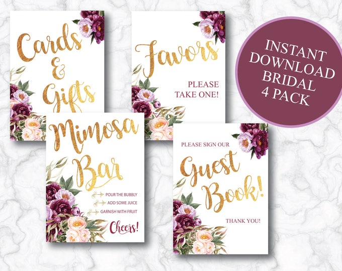 Bridal Pack// Instant Download // Favors // Gift Table // Guest Book // Mimosa Bar // Floral // Burgundy // 8x10  5x7 // FLORENCE COLLECTION