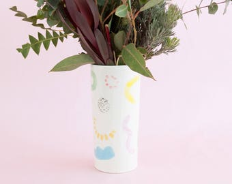 Juliet shapes vase - two sizes - colourful wiggles curves and shapes ceramic tumbler