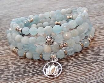 Courage Aquamarine Mala, Yoga Wrap Bracelet, Meditation Necklace, 108 Prayer Beads, Lotus Mala, Buddhist Mala, Throat Chakra, Reiki Energy