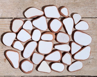White Sea Pottery / 30 pieces / Italian Genuine Sea Tiles for Collection, Jewelry and Mosaic / Beach Pottery (sp-0030-1)
