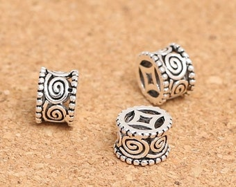 20% OFF Two (2) THAI .925 Sterling Silver 8mm x 5mm Ornate Column Spacer Beads #200