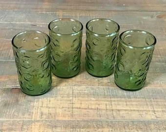 Vintage Orange Juice Glasses, Set of Four, Green Crater, Breakfast Glasses