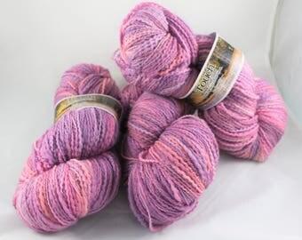 Destash 3 skeins of Touch Yarns 8 ply slub merino yarn  - 600 grams – 1650 yards knitting crochet yarn DK weight pink purple New Zealand