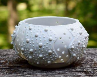 Porcelain Votive Holder, White Porcelain Sea Urchin, Ceramic Tea Light Holder, Minimalist House Decor, White Modern Pottery, Ceramic Urchin,