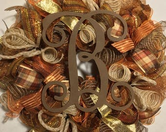 SALE Fall wreath fall burlap wreath pumpkin welcome wreath pumpkin wreath fall welcome wreath Thanksgiving wreath fall mesh wreath fall door