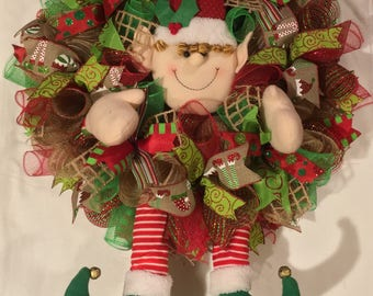 Elf wreath, Christmas wreath, Christmas wreath, elf Wreaths, wreath, Wreaths, mesh Christmas wreath, Christmas decor, elf decor, Christmas