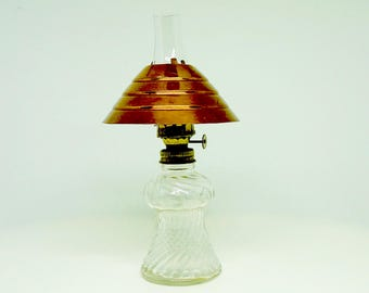 """Small Oil Lamp; Metal Shade; Approx. 8.5""""h x 3""""w; Glass Shade; Swirl Design !!!"""