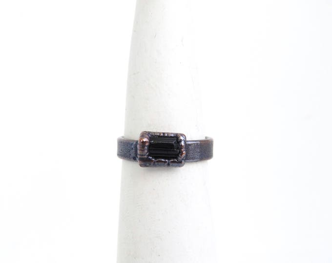 Tourmaline Ring - Black Stone Ring - Electroformed Ring - Electroformed Jewelry - Raw Stone Ring - Copper Ring