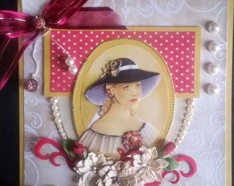 great scrap, card 3d young romantic girl
