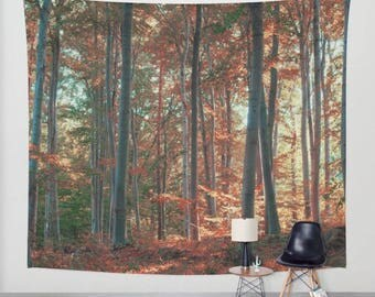 wall tapestry, wall hanging, forest tapestry, nature theme, bohemian, trees, leaves, autumn, three sizes