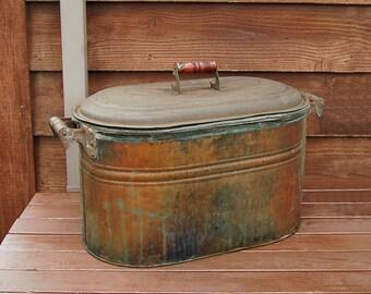 Large Copper Boiler, Vintage Copper Canning Tub, Antique Canning Boiler, Copper Kindling Box