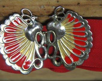 Vintage Enamel Peacock and RED elastic belt