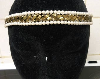 Bronze Plaited Flat Wire Work Circlet Adorned With Seed Beads