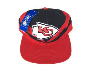 Vintage KC Chiefs Snapback hat Adjustable one Size Fits all Kansas city OSFA strap back hat Cap deadstock New with tag all embroidered red
