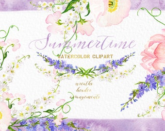 Delphinium . Summertime  watercolor flowers. Watercolor clip art. Header, footer, wreath, arrangements, corner. Wedding invitations.