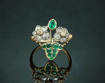 Rare Georgian natural Colombian emerald and diamond Giardinetti flower pansy ring