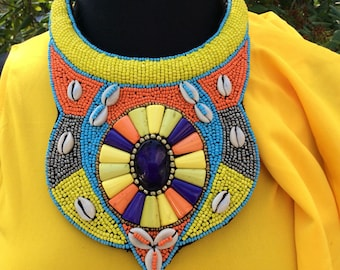Beaded Statement Neckpiece **Statement necklace, African jewelry, african Beads   Tribal Necklace - Statement Necklace - African Necklace