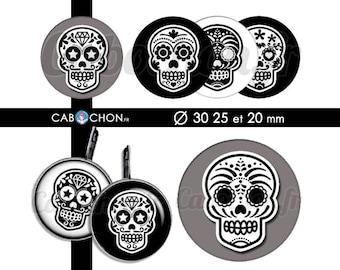 Mexican Skull V • 45 Images Digitales RONDES 30 25 et 20 mm digital sheet sugar skulls mexicana crane tete de mort muerte printable