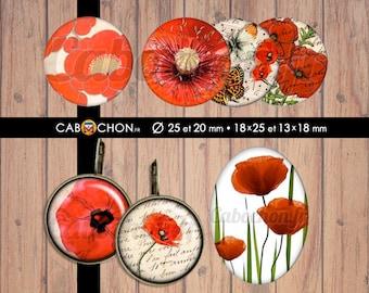 Joli Coquelicot • 60 Images Digitales RONDES 25 20 mm OVALES 18x25 13x18 mm fleur fleurs romantique rouge coquelicot japon pivoine