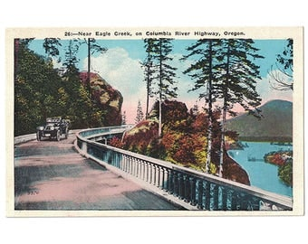 Columbia River Highway Oregon vintage postcard | Eagle Creek, fish reel | 1920s OR travel souvenir, western vacation decor, home state gift