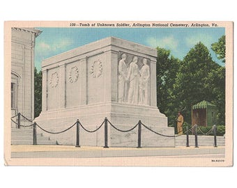 Arlington National Cemetery Virginia vintage linen postcard | Tomb of the Unknown Soldier | 1930s VA travel, military decor, Washington DC