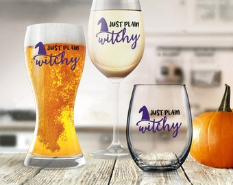 Funny Halloween, Halloween Party Favor, Hocus Pocus Wine Glass, Just Plain Witchy Beer Wine Milk Soda Beverage, Housewarming Gift for Her