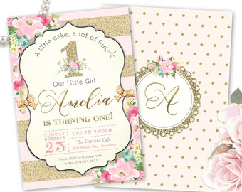 Floral 1st Birthday Invitation, 1st Birthday Invitation Pink and Gold, Printable or Printed, 1st Birthday Invite Girl, Birthday Invitations