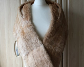 Vintage Real Strawberry Blonde Muskrat Musquatch Fur Shrug Stole for Wedding / Occasion by Philip Burges S27