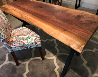Live Edge Black Walnut Desk with Industrial X style Legs, office table, Unique Desk in Custom Size ships free