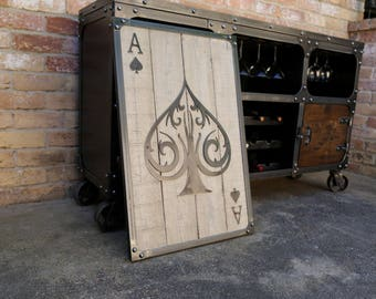 Ace of Spades Wall Art | Casino Decor | Metal Poker Card with Weathered Wood | Game Room Industrial Decor | Mancave