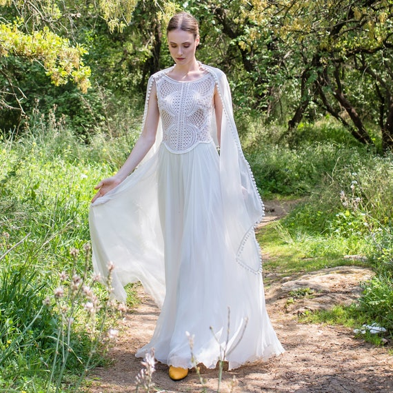 Boho wedding dress bridal dress lace top wedding gown like this item junglespirit Image collections