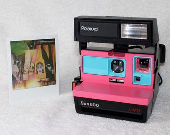 Upcycled Pink and Turquoise Polaroid Sun 600 - Cleaned, Tested and Ready for Fun