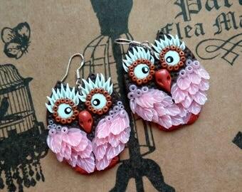 Earrings with owls . Polymer clay earrings. Owls earrings. Polymer clay owls