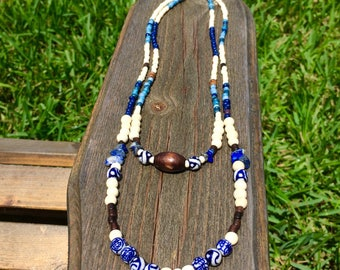 painted porcelain and blue lapis layered necklace