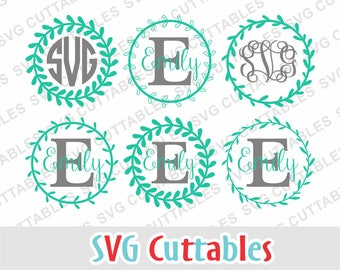 Floral Wreath svg, Monogram Frame svg, Laurel Wreath SVG, DXF, EPS, Laurel svg, silhouette file, Cricut cut file, Digital download