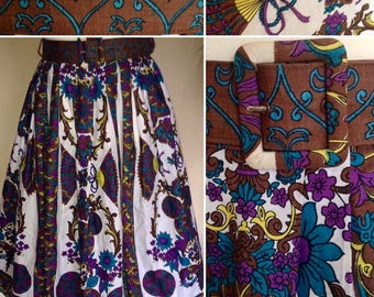 1940s/50s Floral and Fan Novelty Print Circle Skirt with Original Belt!