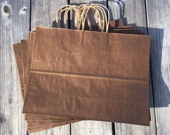 "50 Pack Large Chocolate Brown Gift Bags/16""x6""x12"" Brown Gift Bags/Brown Kraft Gift Bags"