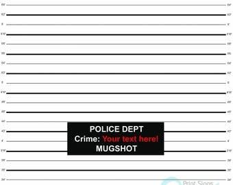 Customized Mug Shot Any Size with text - Vinyl Photography Backdrop and Floor Drop
