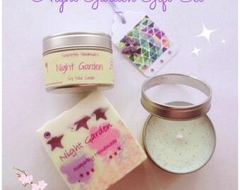 Gift Set, Night Garden, Handmade Soap, Candle, Fragrant, Summer scents, Jasmine, Tuborose, Lavender, cruelty free, vegan