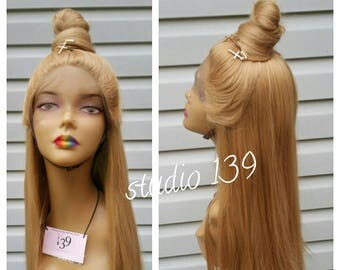 Honey blonde human hair blend lace front wig