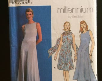 1999 Simplicity Millennium Pattern # 8600, Misses Size 10-12-14, Dress, Uncut