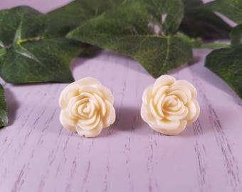 Flower Resin Button Stud Earring Surgical Steel
