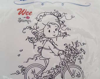 Rose's Bike Ride mounted rubber stamp